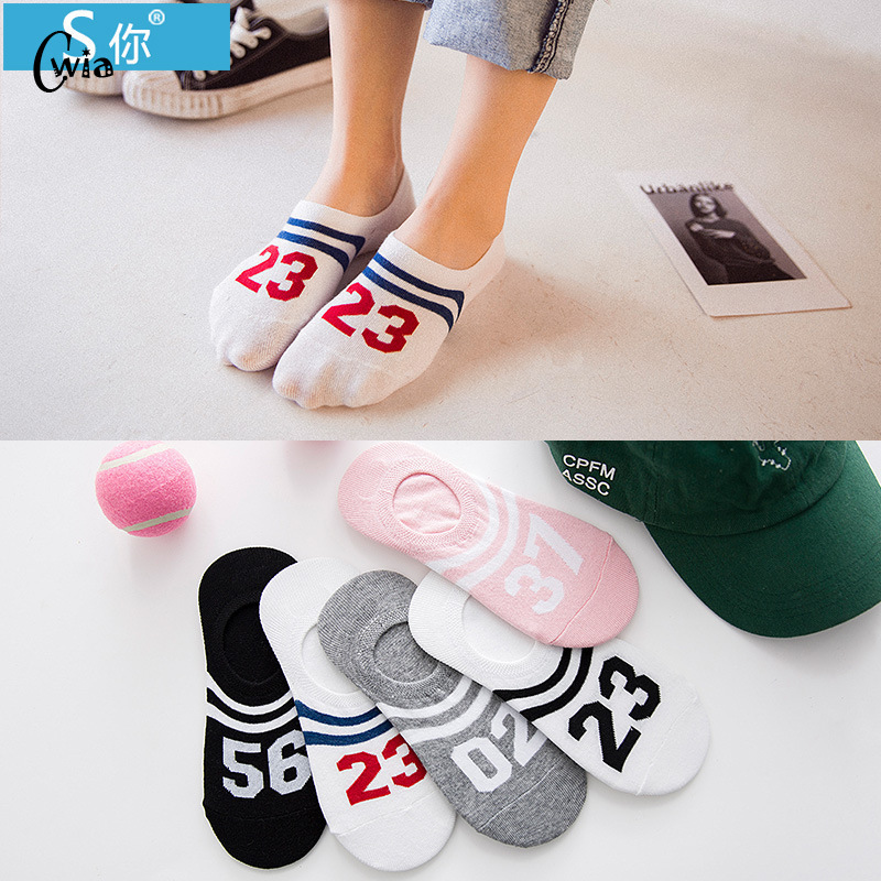 Summer Digital Woman Cotton Invisible Stripe Motion Socks Low Ankle Sock Boy Boat Casual Slippers 1pair=2pcs Ws116