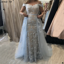 SERENE HILL Blue Boat Neck Sexy A-Line Evening Dresses 2019