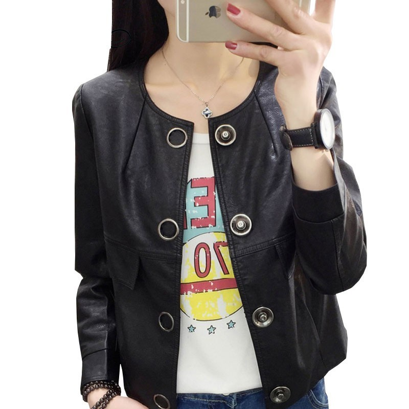 2018 Women Leather Jacket Short Paragraph Washed Button Round Neck Black Coat Were Thin Plus Casual ls112