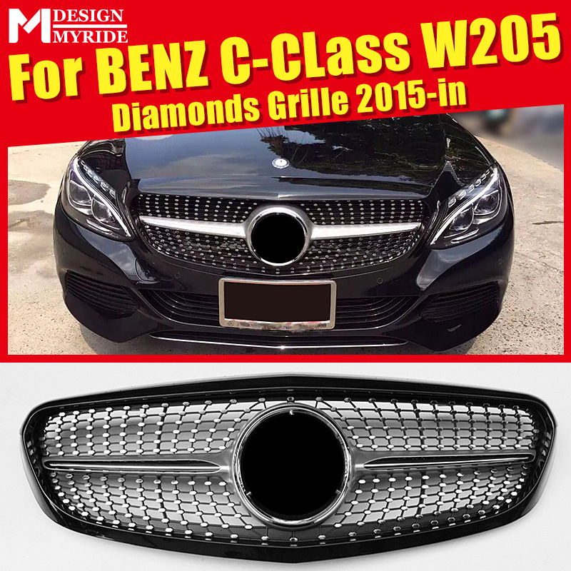 For W205 Diamonds Front Grille Non Sports ABS Silver C-Class C180 C200 C250 C350 400 C63AMG Without emblem 15+