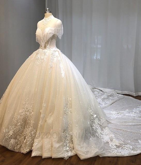Vivian's Bridal Shiny Voile Wedding Dress Lace High Neck Crystal