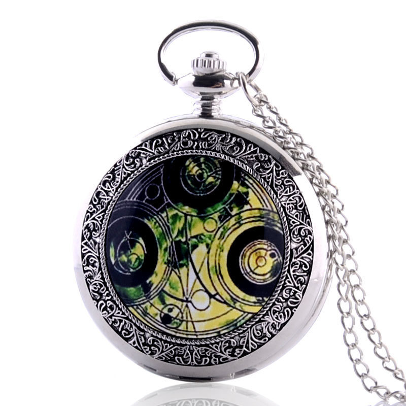 IBEINA Antique Steampunk Pocket Watch Vintage Necklace Chain Gift Retro Full Hunter Quartz Engraved Fob Pendant