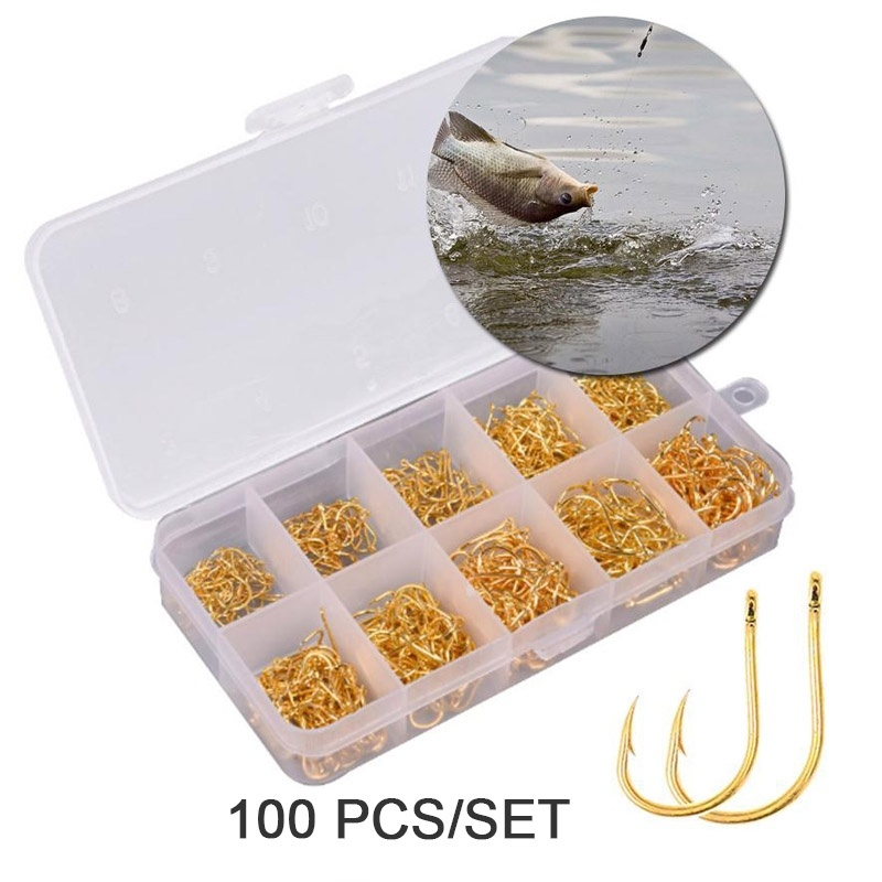 100Pcs/Box High Carbon Steel Gold/Silver Carp Fishing Bait 10 Mixed Sizes 3#-12#  Sharpened Ultrapoint Fishing Hook Set
