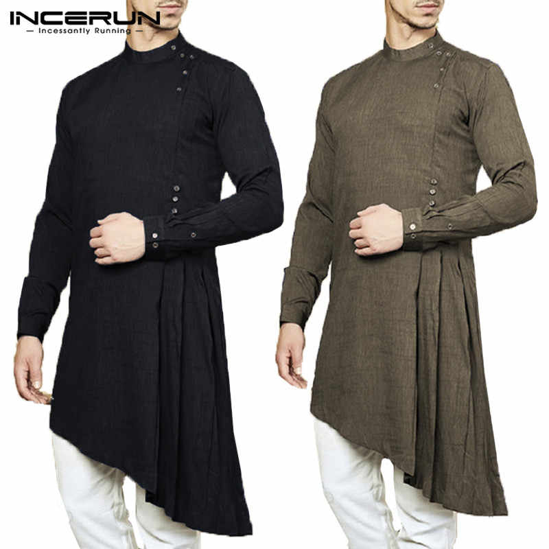 17d035e64bd4 NEW Muslim Islam Kurtas Suit Indian Dress Mens Shirt Long Sleeve Asymmetric  Hem Kaftan Aaudi Arabia