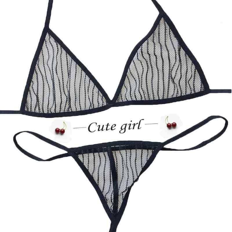 2 Pcs Wanita Sexy Lingerie Set Halter Bra Seksi G-string Transparan Godaan Hollow Sesuai dengan Dua Potong Pakaian Renang Memakai Bikini