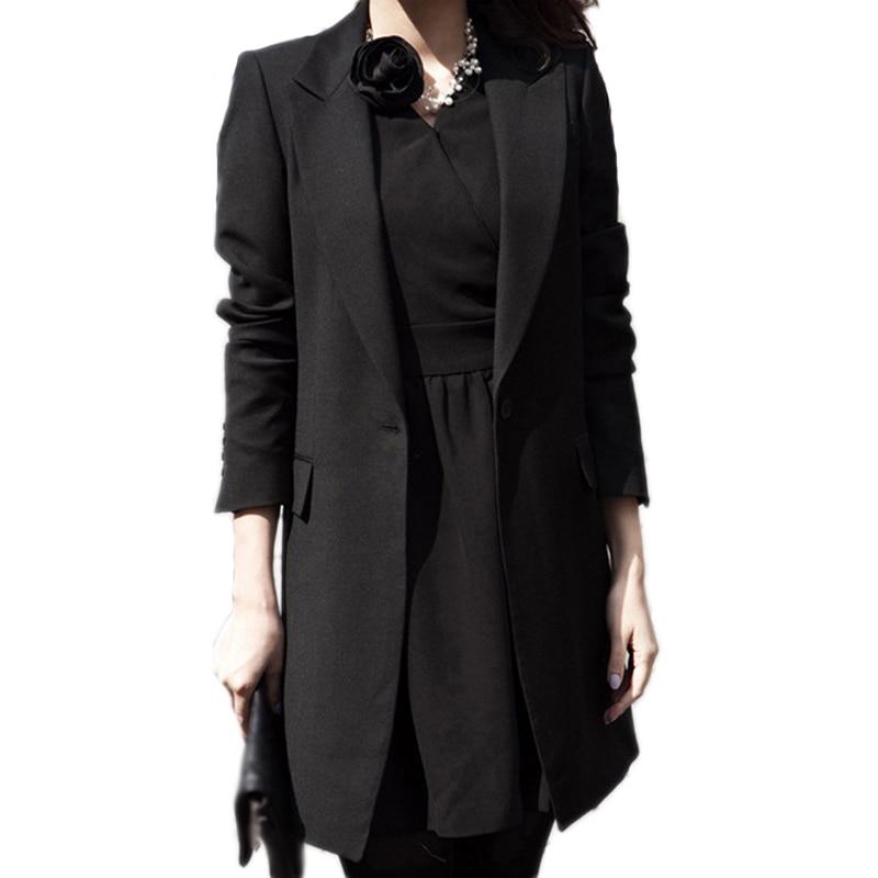 Outono inverno feminino longo blazers jaquetas único botão casual sólido preto manga comprida blazer casaco mujer feminino longo mais tamanho