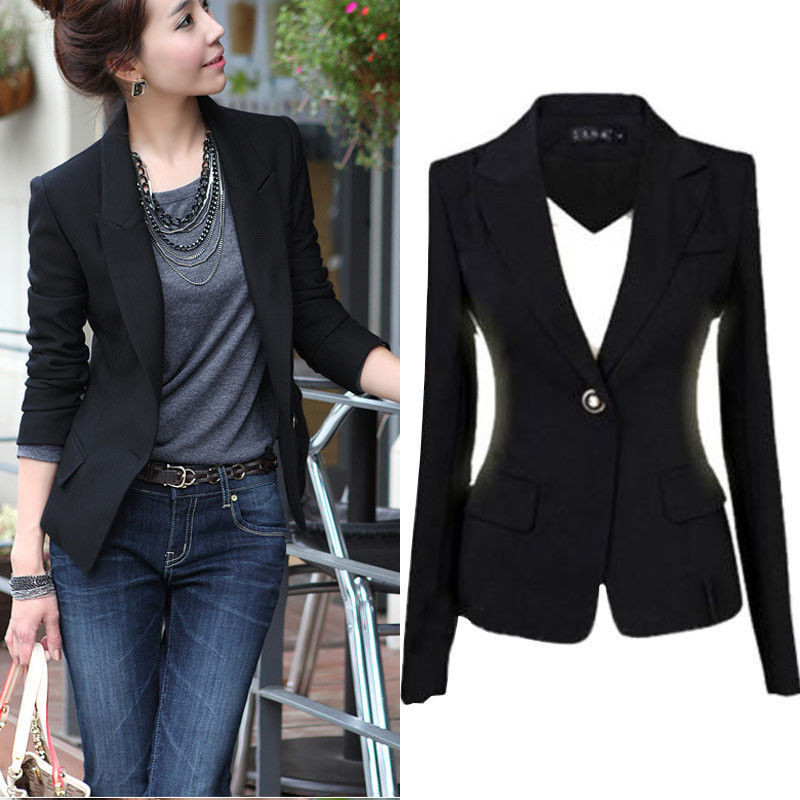 Women Casual Skinny Cotton West Slim Short Blazer Ladies Top Pure Black Thin Suit Top Female Single Button Blazers