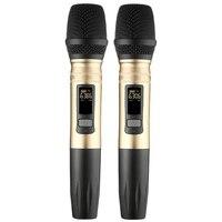 Hot TTKK 2 Pçs/set Ux2 Uhf Sistema de Microfone Sem Fio Handheld Led Uhf Microfone Speaker Portátil Com Receptor Usb Para Dj Ktv Discurso