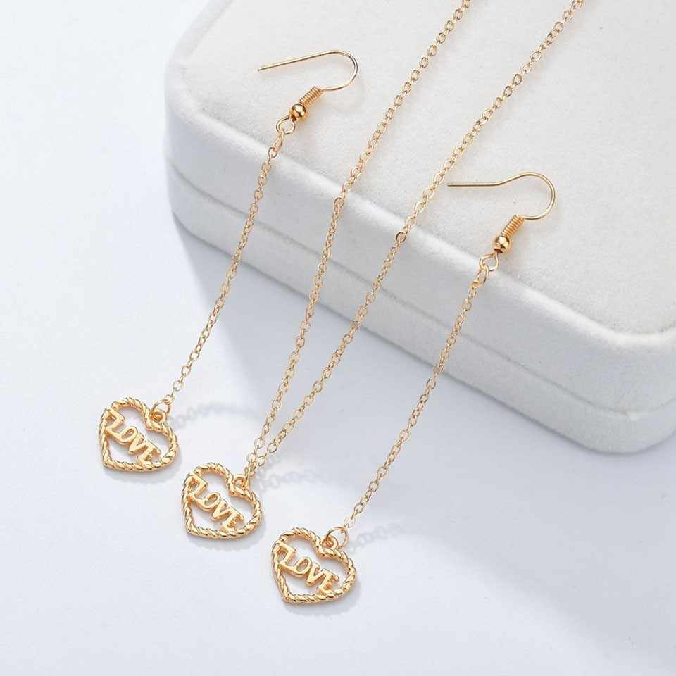 Qiao La New Arrival Great Heart Letter Jewelry Sets For Women  Popular Style High Quality Wedding Necklace Jewelry Sets