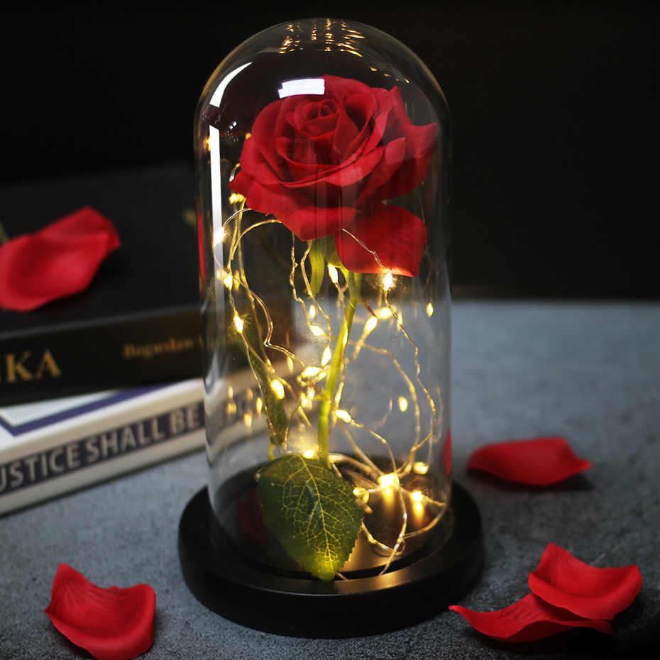 Led Schoonheid En Het Beest Rode Roos In Kolf Glas Eeuwige Rozen Voor  Kerstcadeaus Familie Decoratie Valentijnsdag Gift    - AliExpress