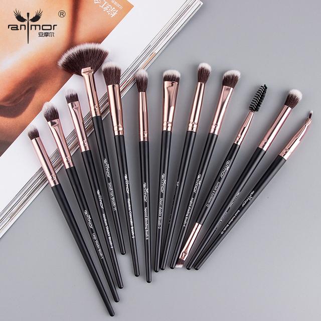 Anmor Pro Makeup Brushes Set 12 pcs/lot Eye Shadow Blending Eyeliner Eyelash Eyebrow Brushes For Makeup