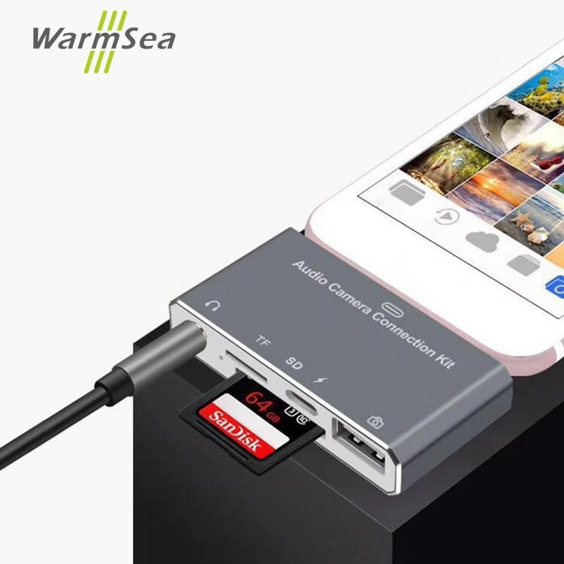 USB HUB With TF SD Card Mobile Phone Multi-Function Camera Card Audio Aux OTG Charging For Lightning Iphone 6 7 8 10 Old  Ipad