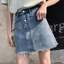 Loyalget Denim Skirt High Waist A-line Mini Skirts Women 2019 Summer New Arrivals Breaste Button Pockets Blue Jean Shorts