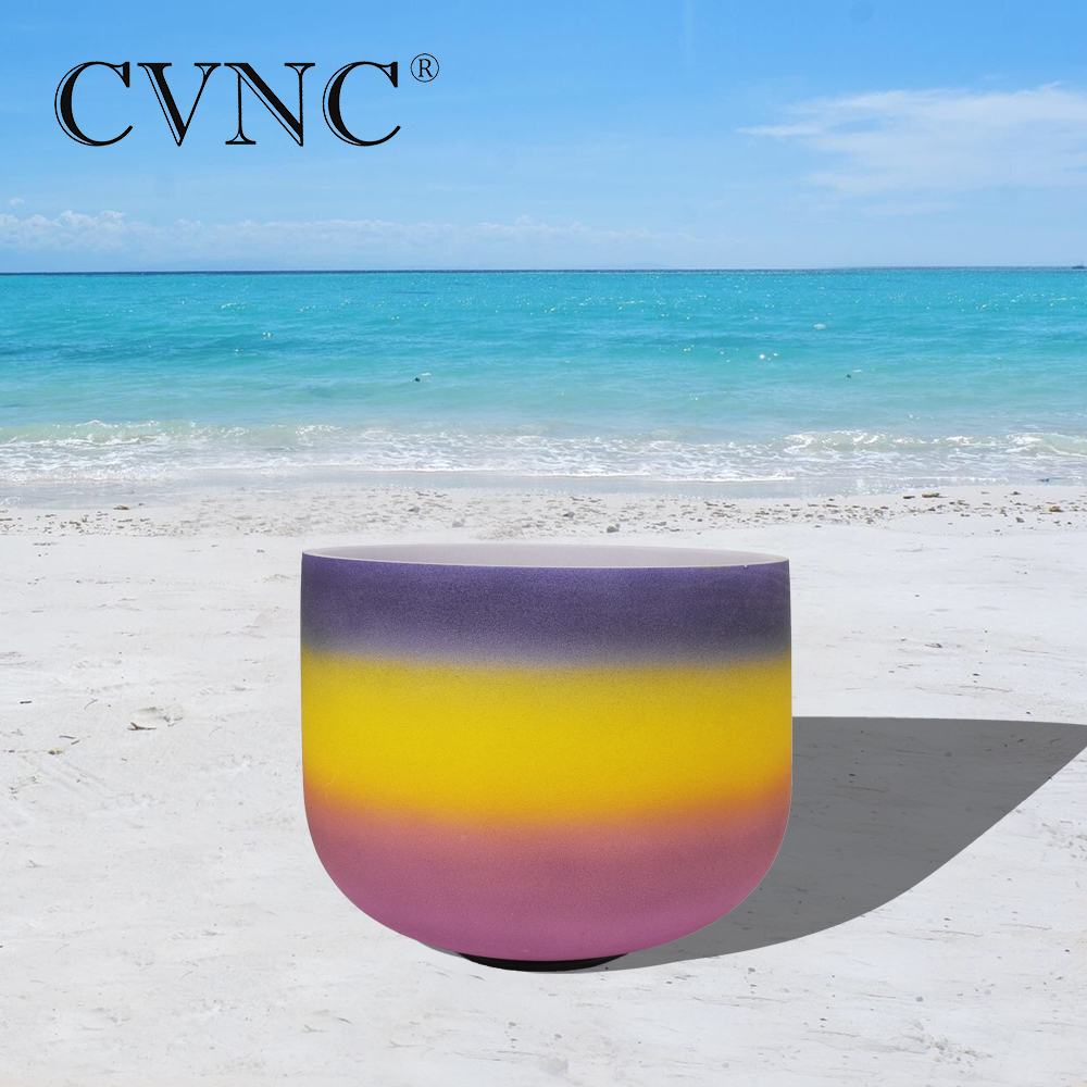 CVNC 8 Note A  Third  Chakra Rainbow  Colored Frosted Quartz Crystal Singing BowlCVNC 8 Note A  Third  Chakra Rainbow  Colored Frosted Quartz Crystal Singing Bowl