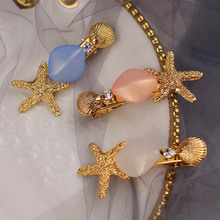 ncmama Korean Hair Clips for Women Chic Gold Starfish Ornament Pearl Barrettes Girls Summer Style Accessories