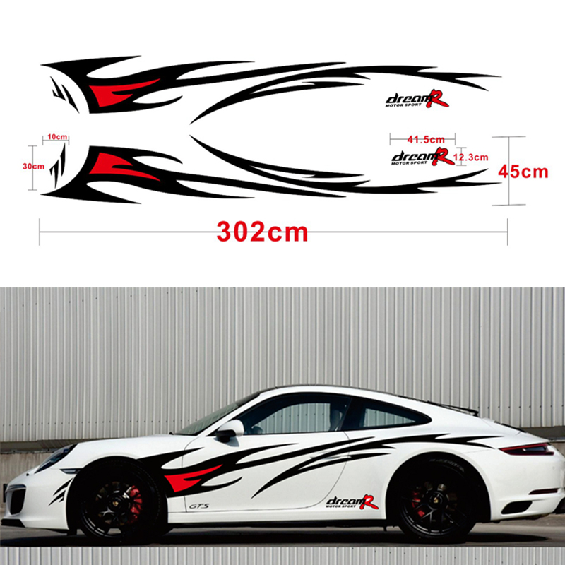 Car styling DREAM R Flame Graphics Design Car Sticker for Whole Auto Body Vinyl Sticker Waterproof