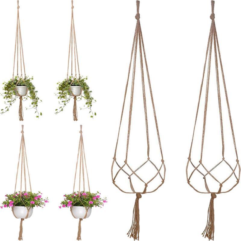 120 Cm String Net Decor Natuurlijke Stijl Jute Macrame Boho Duurzaam Bloem Hanger Mand Voor Decoratie