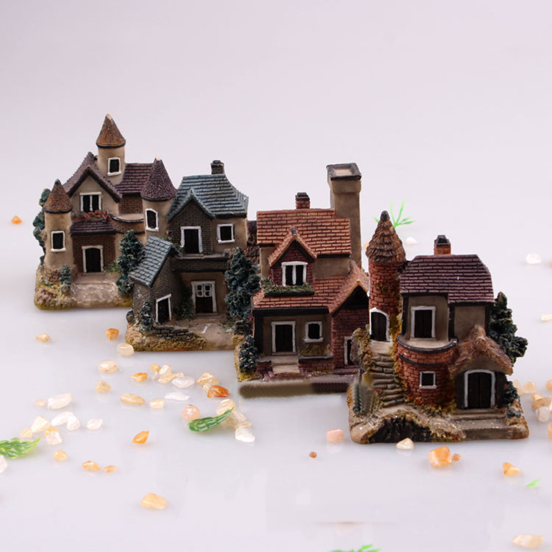 JX-LCLYL Resin Mini Fairy Garden Miniature Thatched House Landscape Micro Decorate Ornament