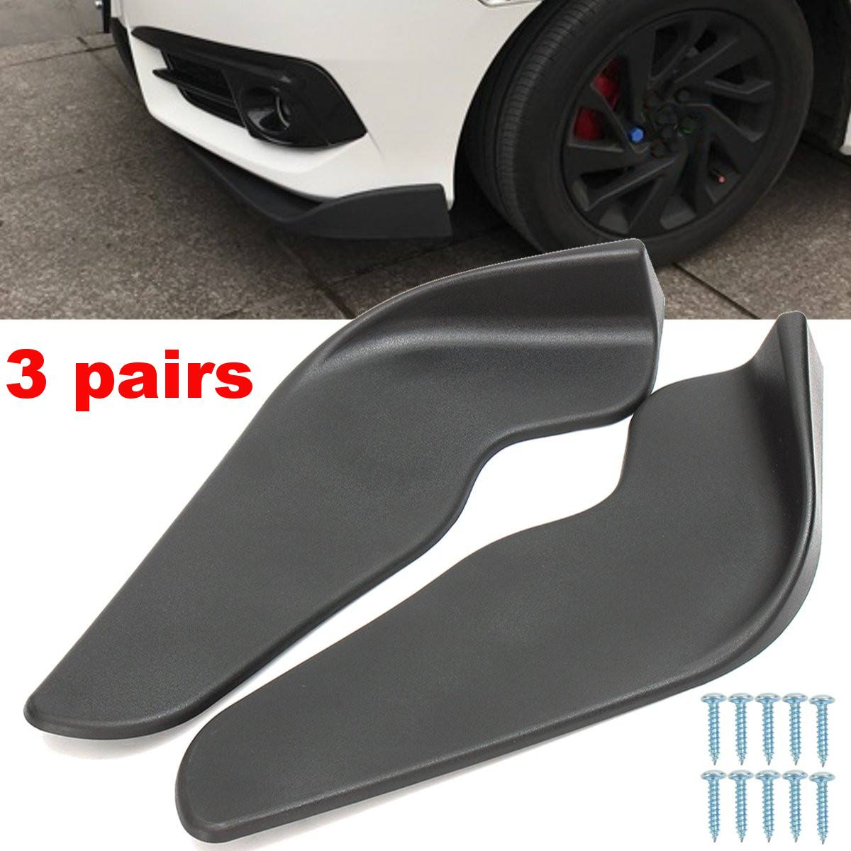 3 Pairs Black ABS Fit Front Bumper Lip Splitter Fin Air Knife Auto Body Kit Car Spoiler Accessory3 Pairs Black ABS Fit Front Bumper Lip Splitter Fin Air Knife Auto Body Kit Car Spoiler Accessory