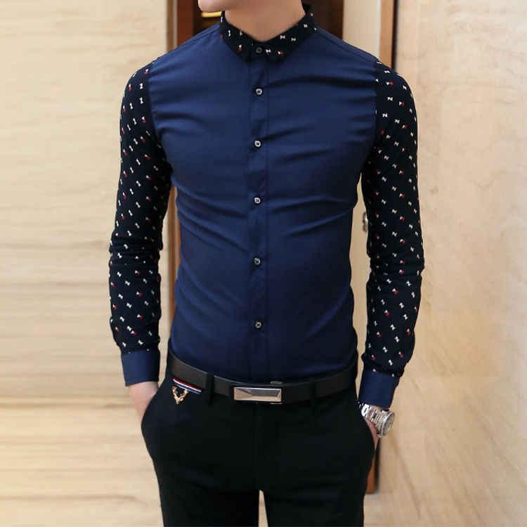 Nowa moda mężczyzna stylowe luksusowe Patchwork koszulki sukienki na co dzień Slim Fit na co dzień z długim rękawem skręcić w dół kołnierz koszule