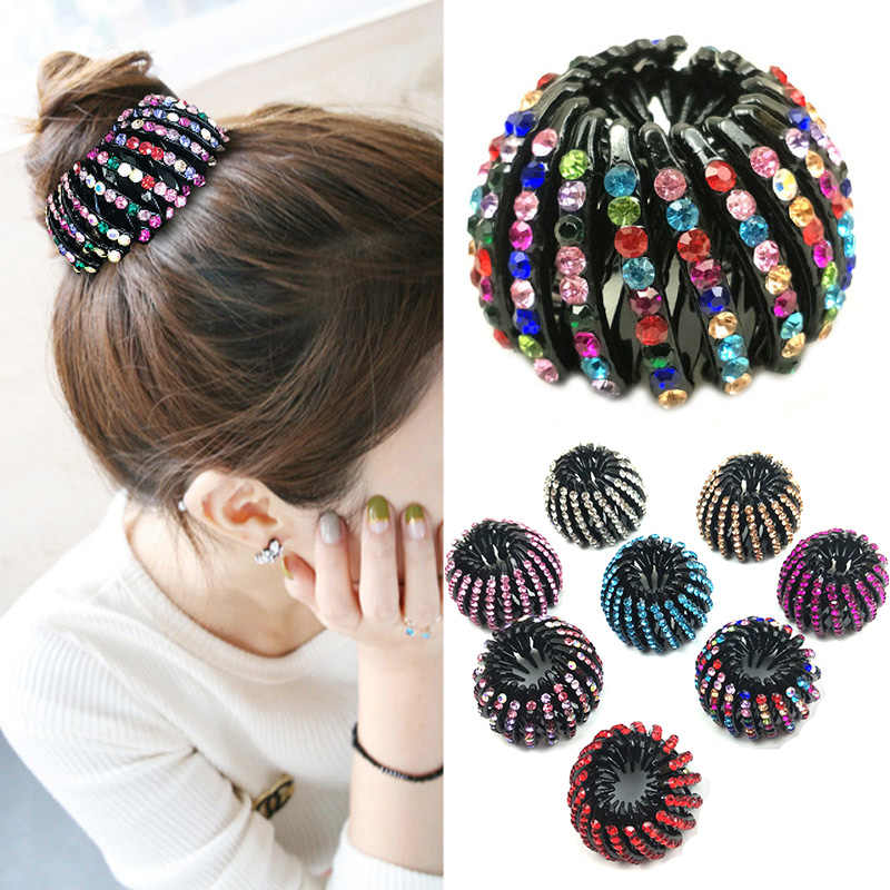 Fashion Crystal Bird's Nest Hair Clips Headwear Woman Hair Ponytail Holder 1PC Curler Roller Headwear Hair Device Girls 8 Colors