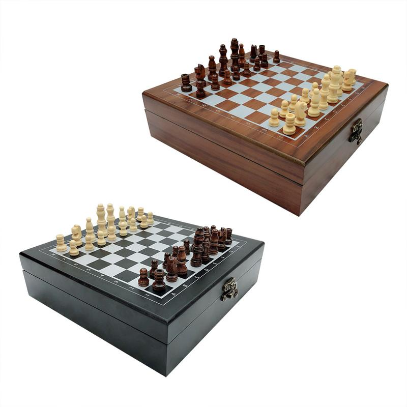 Wooden Chess Divination Games Poker Cards Dominos 4 in 1 Set Recreation and Entertainment Supplies Black Coffee Color