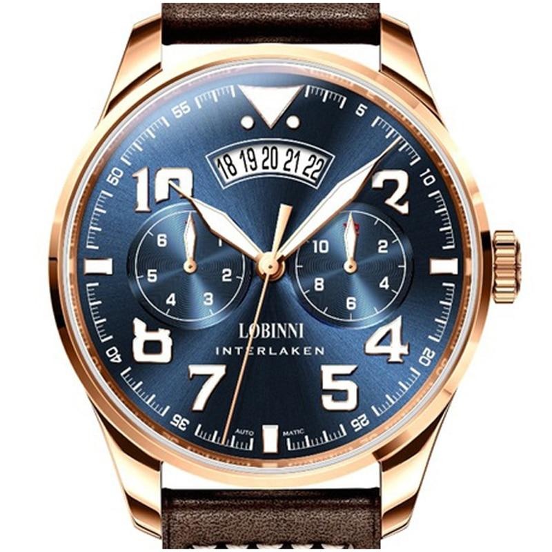 Top Marque Suisse LOBINNI montre pour homme Japon MIYOTA 9122 Automatique Mécanique MOVT Hommes de Saphir relogio masculino L16051-5