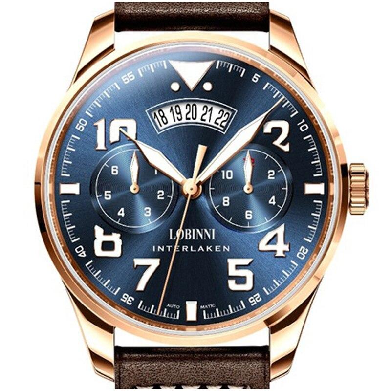 Top Marca Suíça LOBINNI Relógios Homens Japão MIYOTA 9122 MOVT dos homens Mecânicos Automáticos Safira relogio masculino L16051-5