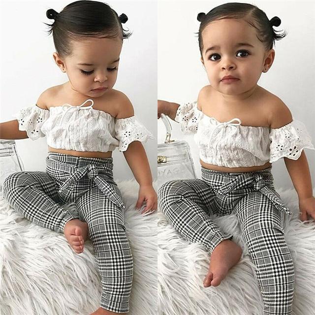 2019 baby girl clothes set lace crop top vest+bow lace up plaid pants set baby clothes girl summer clothing 2pcs 1