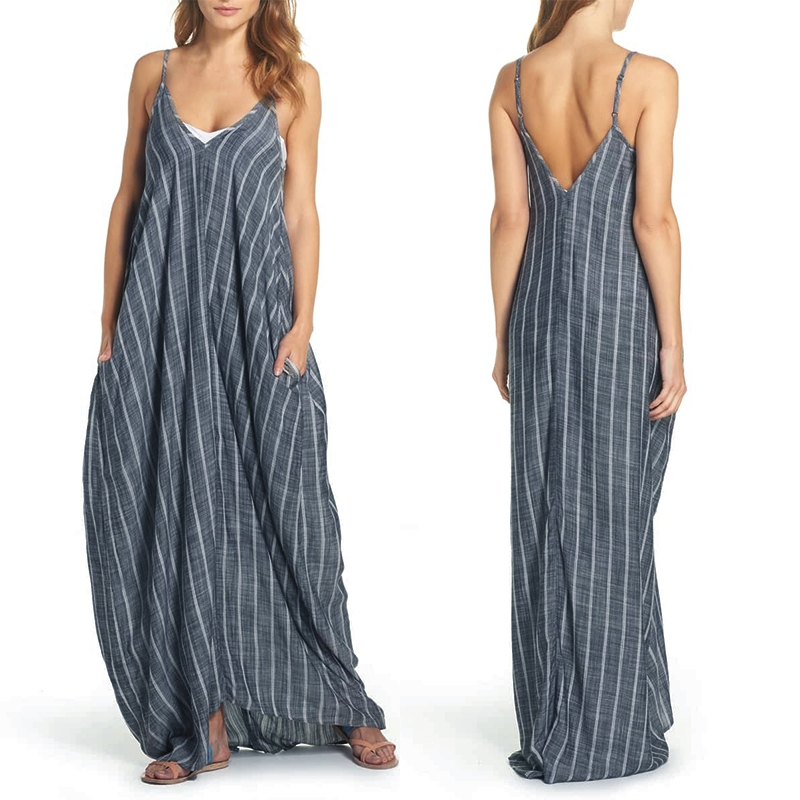 Summer Dress ZANZEA 2019 Women Sexy V Neck Maxi Dresses Sleeveless Striped Beach Sundress Vestidos Robe Femme Plus Size 5XL