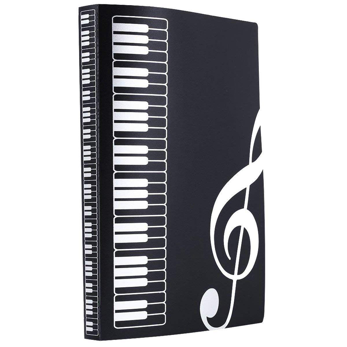 Music Sheet File Paper Documents Storage Folder Holder PVC.A4 Size,40 Pockets (Black)