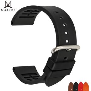 MAIKES New fluororubber watchbands 20mm 22mm 24mm sports flouro gum rubber watch strap concise fashion band watch accessories