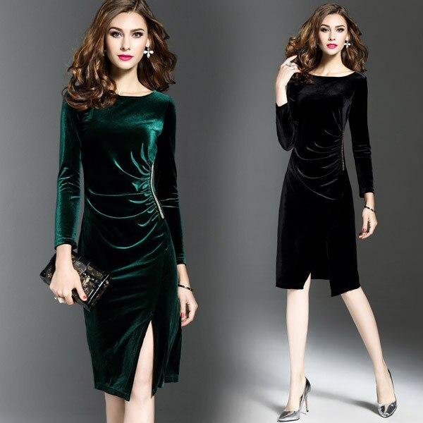 Black Velvet   Cocktail     Dresses   2018 Elegant Leg Slit Little Mermaid Long Sleeve Winter Autumn Short Party   Dresses   for Women