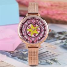 Сейлор Мун женские часы кварцевый механизм браслет из нержавеющей стали/кожаный ремешок милые розовые студенческие женские наручные часы Новинка