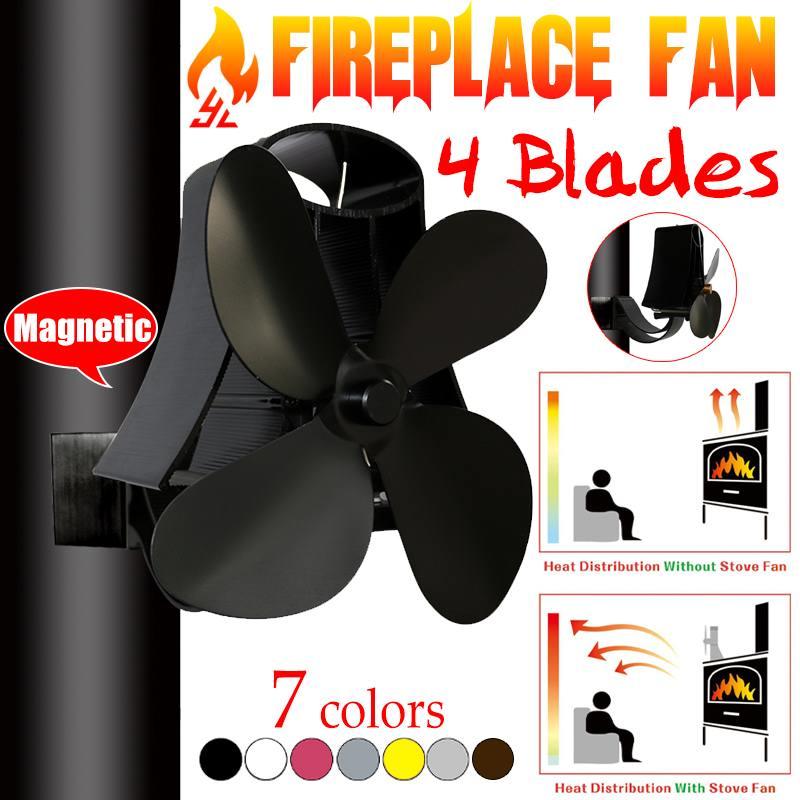 4 Blade Wall Hanging Heat Powered Stove Fan Log Wood Burner Eco Kindly Quiet Home Fireplace Fan Heat Distribution Fuel Saving