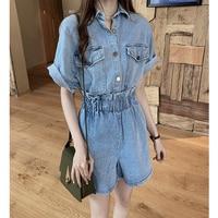 Women Denim Sets Fashion Cotton Shirts Shorts Turn down Collar Pockets Ruffles Single Breasted Elastic Waist Summer