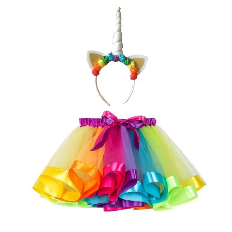 Cute Girls Rainbow Unicorn Costume Cosplay Halloween Carnival Purim Festival Kids Fantasy Tutu Dress