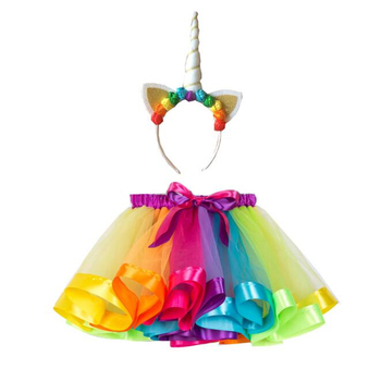 Meninas bonitos Rainbow Unicorn Traje Cosplay Halloween Carnaval festa de Purim Crianças Fantasia Vestido Tutu