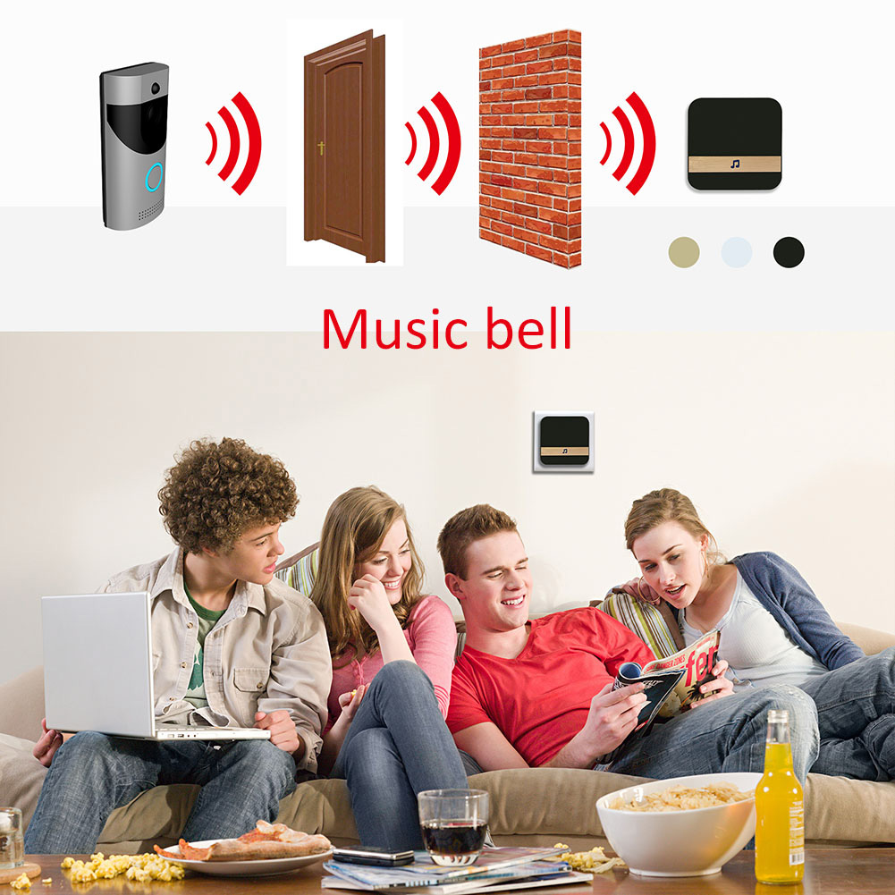Black/White Wireless Wifi Intercom Doorbell Infrared Night-Vision Smart Video Door Chime Monitor CameraBlack/White Wireless Wifi Intercom Doorbell Infrared Night-Vision Smart Video Door Chime Monitor Camera