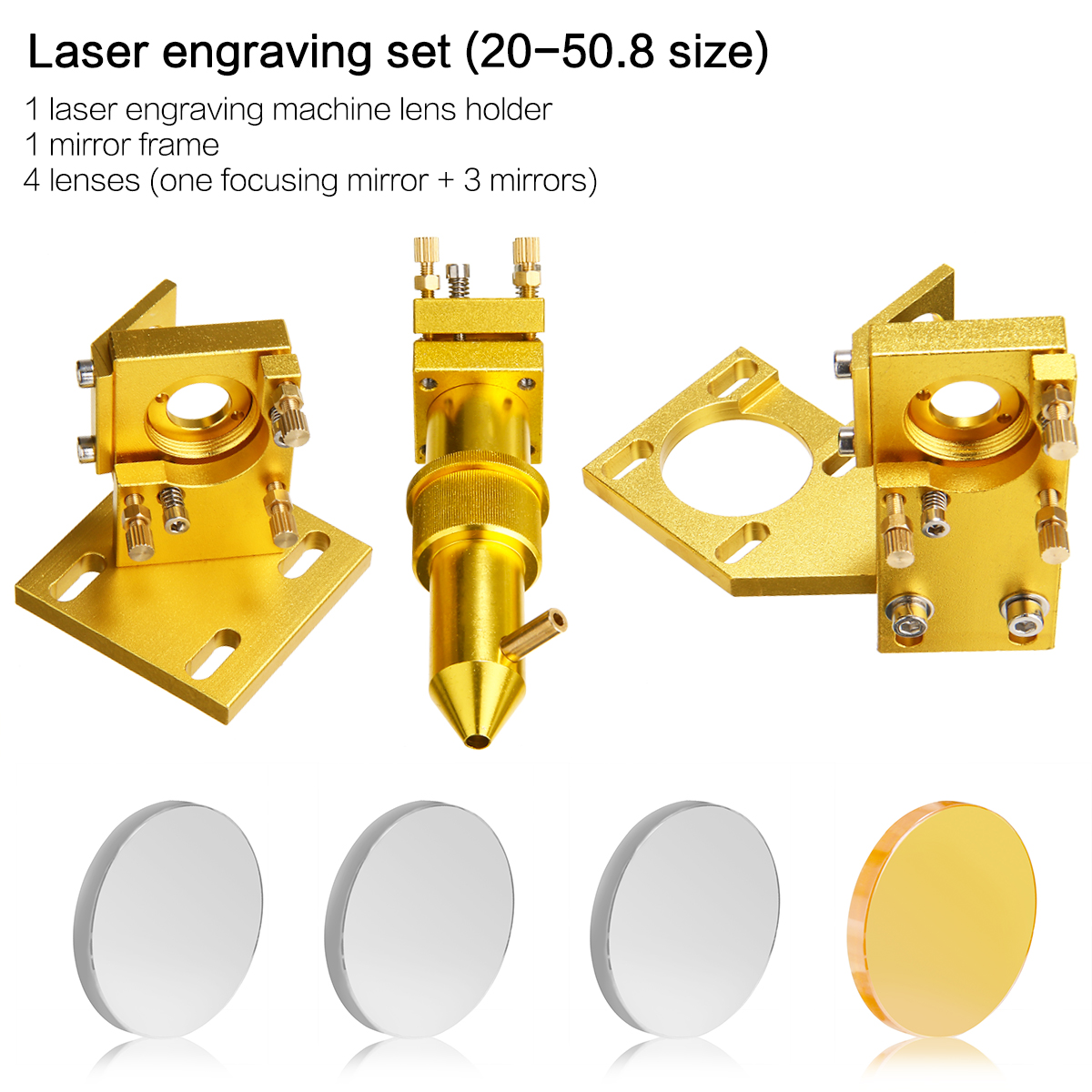 CO2 Laser Head Set Mirror Mount Focus Lens Mirror Laser Engraving Cutting Machine Accessories for K40
