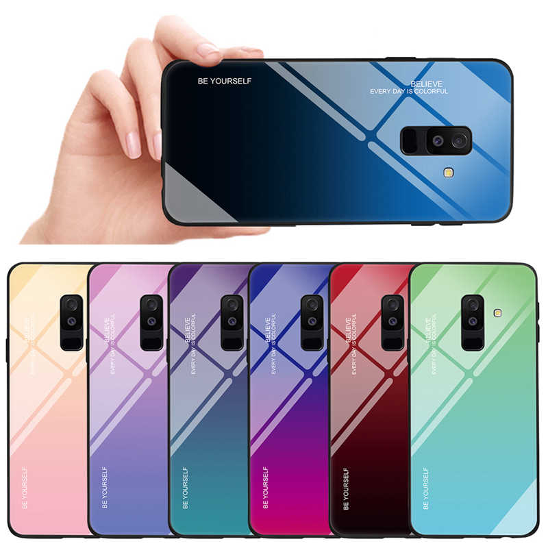 Gradient Case untuk Samsung Galaxy A51 A71 A91 A7 A6 A8 Plus 2018 Luxury Slim Fit Glossy Kaca Tempered Silikon frame Hard Cover