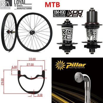 29er MTB, rueda de carbono para Cross Country, conjunto de neumáticos para bicicleta de montaña, Koozer XM 490 Hub 33*29mm 700c, llantas/llantas asimétricas