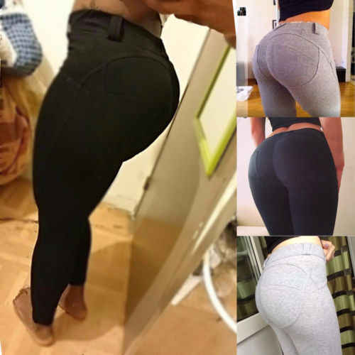 696cffaa5e112 ... Sport Women's Gym Sports Pants Hip Push Up Leggings Fitness Workout  Stretch Elastic Solid Skinny Long