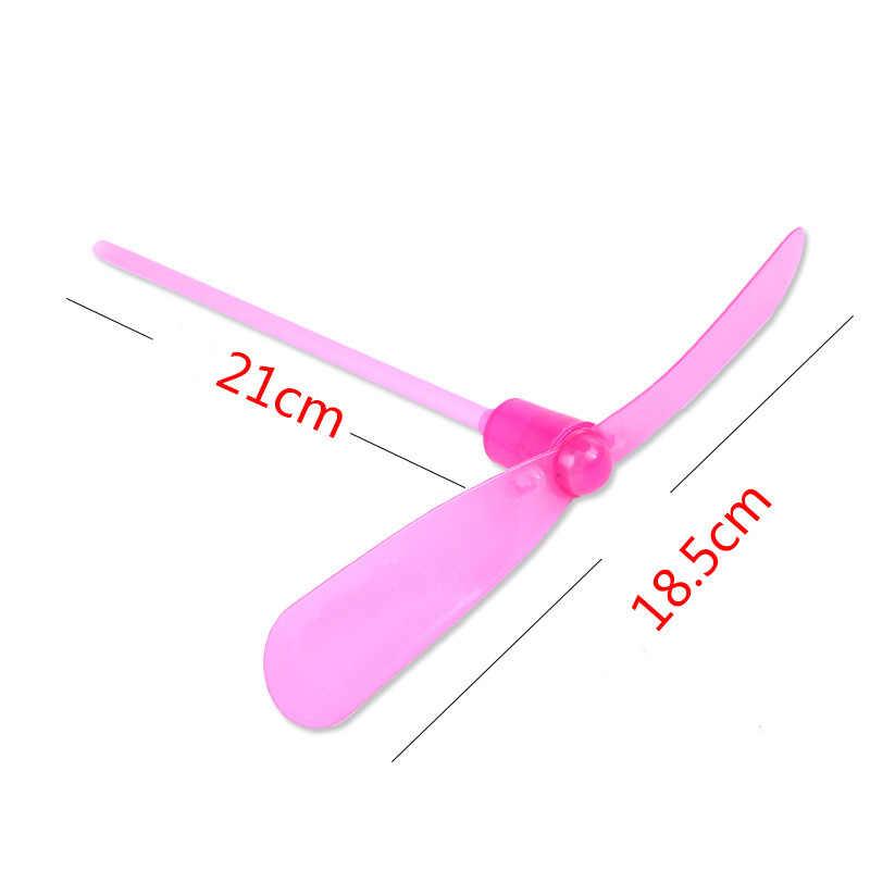 1 Uds. LED libélula de bambú disparo paracaídas volador cielo UFO juguetes luminosos al aire libre para niños que brillan en la oscuridad Juguetes