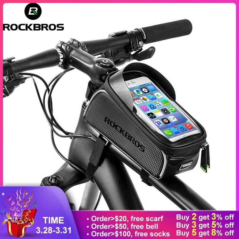 ROCKBROS MTB Rennrad Fahrrad Taschen Wasserdichte Touch Screen Radfahren Top Vorne Rohr Rahmen Taschen 6,0 Telefon Fall Bike Zubehör