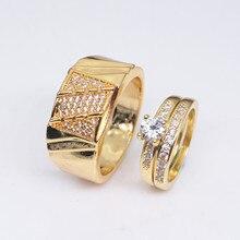 14k Yellow Gold Couple Diamond Rings Anillos De Bague or Jaune Bizuterias Diamante Diamond Jewelry Rings for Women Men NoEnName цена 2017