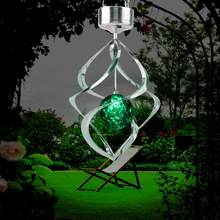 LED Solar Wind Chime Light Colorful Hanging Spinner Lamp Solar Garden Wind Chime Light for Home luz solar led para exterior(China)