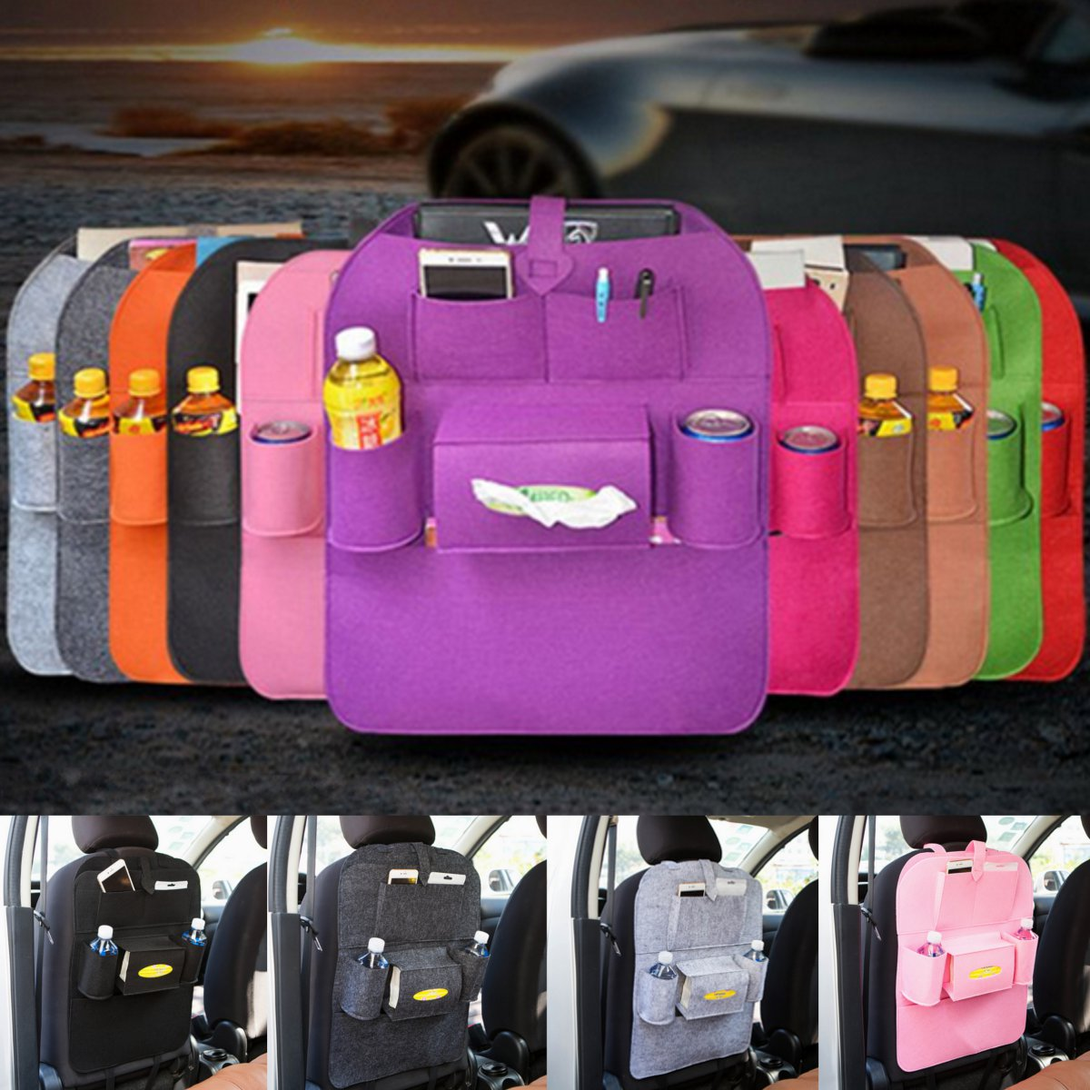 Car Storage Bag Universal Back Seat Organizer Box Felt Covers Backseat Holder Multi-Pockets Container Stowing TidyingCar Storage Bag Universal Back Seat Organizer Box Felt Covers Backseat Holder Multi-Pockets Container Stowing Tidying