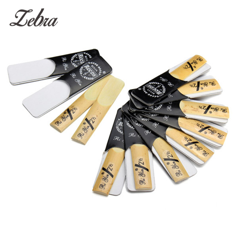 10pcs/sest Sax Saxophone Reed Woodwind Instrument Accessories For Clarinet/Soprano/Alto/Tenor Saxophone Bb 2.5 Strength 2 1/2