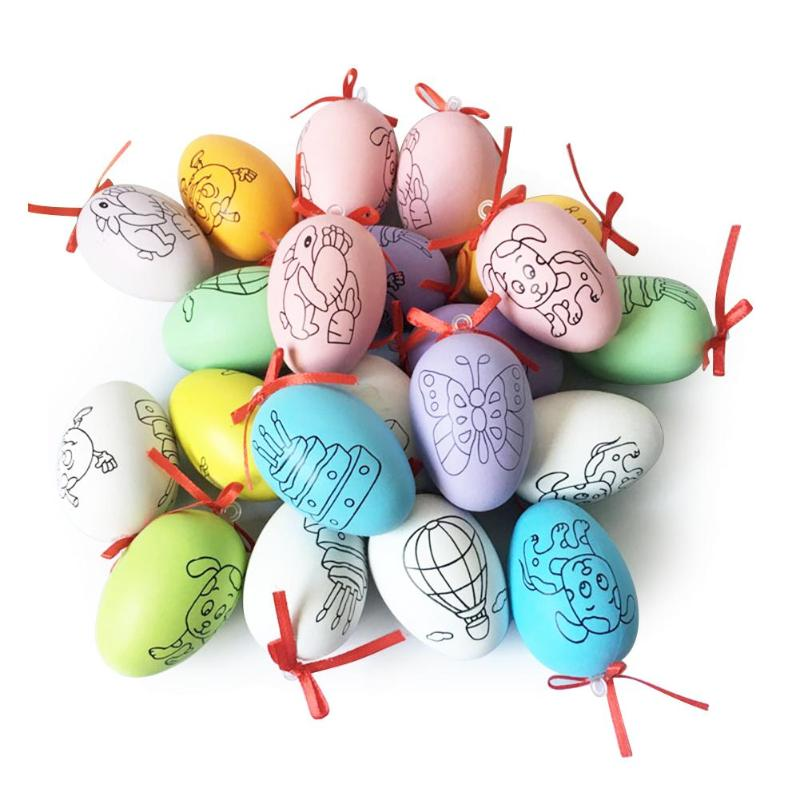 20pcs Easter Eggs Children Handmade Craft Toys DIY Easter Eggs Cartoon Painted Eggshell Kids Educational Toys Gifts Random Color